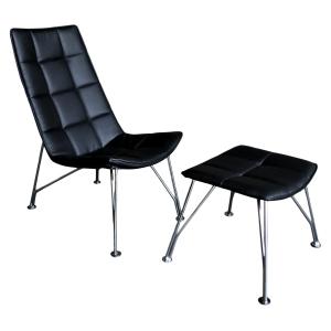Black Santiago Chair and Ottoman
