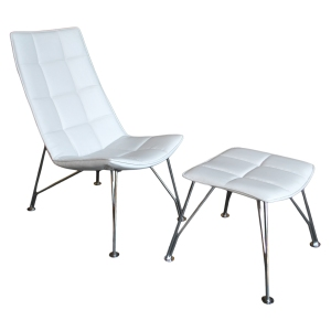 White Santiago Chair and Ottoman