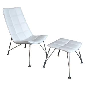 White Santiago Chair and Ottoman