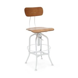 Toledo Industrial Stool in White
